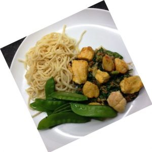 Lemon chilli chicken with spinach satay