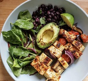BBQ vegetable and tofu skewers with a drizzle of Jethros Green Chilli and Coriander Sauce. Photo from @thecookingyam